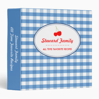 Blue gingham country red cherry family recipe binder