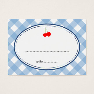 Blue gingham country rustic cherry seating card