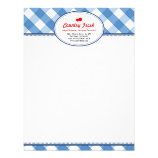 Blue gingham country rustic red cherry personal letterhead