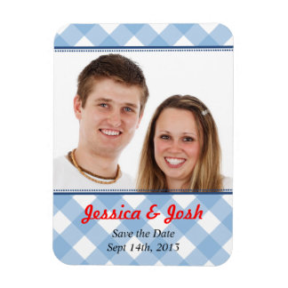 Blue gingham country rustic wedding save the date flexible magnet