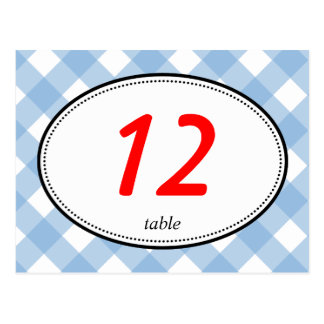 Blue gingham country rustic wedding table number postcard