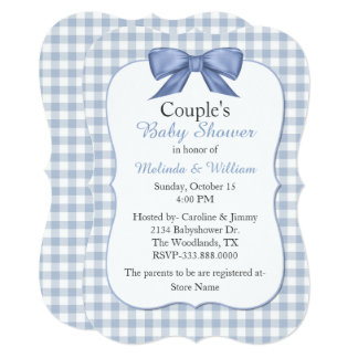 Blue Gingham Couple's Baby Shower Invitation