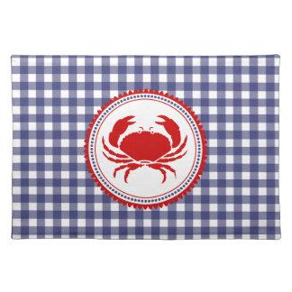 Blue Gingham & Crab Place mat