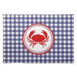 Blue Gingham & Crab Place mat Cloth Place Mat