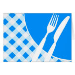 Blue Gingham & Cutlery Greeting Card