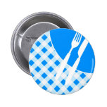 Blue Gingham & Cutlery Pinback Button
