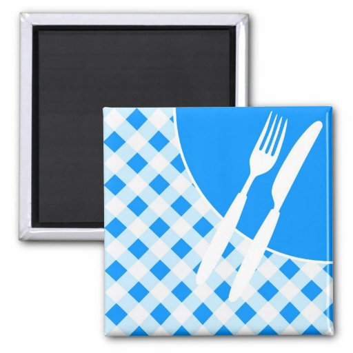 Blue Gingham & Cutlery Refrigerator Magnet
