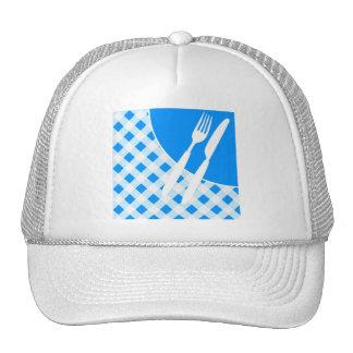 Blue Gingham & Cutlery Trucker Hat