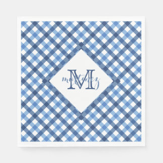 Blue gingham diamond monogram name napkins
