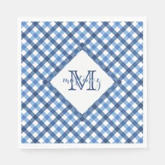 Blue gingham diamond monogram name napkins