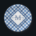 "Blue gingham diamond monogram name paper plate<br><div class=""desc"">Gingham is a picnic staple... combine the cottage charm of a blue gingham print background and the elegance of a diamond monogram in a perfect pairing on this paper plate. The simple geometric design highlights the name and initial in the diamond shape center with a border of small random blocks...</div>"