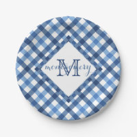 Blue gingham diamond monogram name paper plate