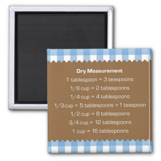 Blue gingham dry measure chart kitchen helper 2 inch square magnet