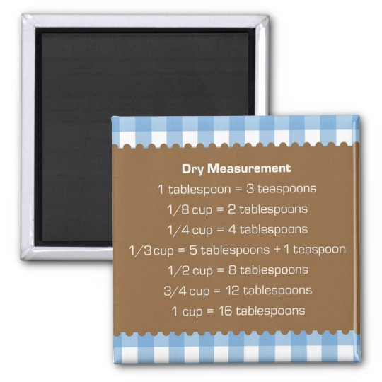Blue gingham dry measure chart kitchen helper magnet