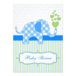 Blue Gingham Elephant Baby Shower Invitation