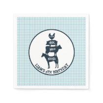 Blue Gingham Farm Theme Animal Birthday Paper Napkin