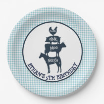 Blue Gingham Farm Theme Animal Girl Birthday Paper Plate