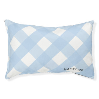 Blue Gingham Indoor Dog Bed Small Personalized