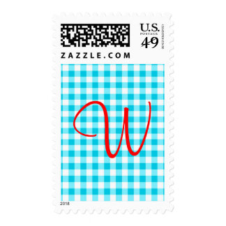 Blue Gingham Initial Postage