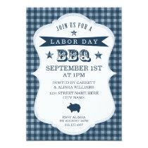 Blue Gingham Labor Day Barbecue Invitation