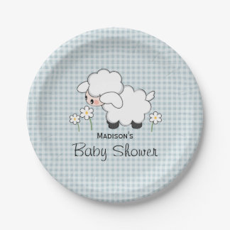 Blue Gingham Lamb Baby Boy Shower Paper Plate