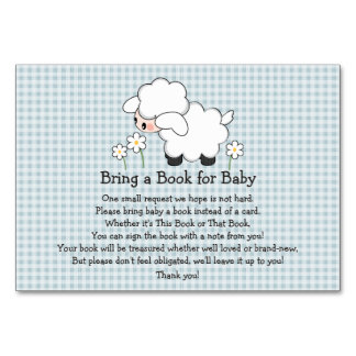 BLUE GINGHAM LAMB BABY SHOWER BOOK REQUEST CARD