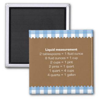 Blue gingham liquid measure chart kitchen helper 2 inch square magnet