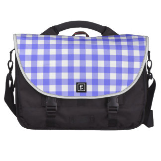 Blue Gingham Material Bags For Laptop