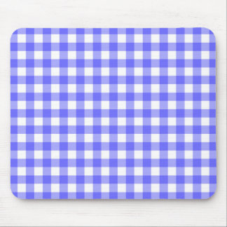 Blue Gingham Material Mouse Pad