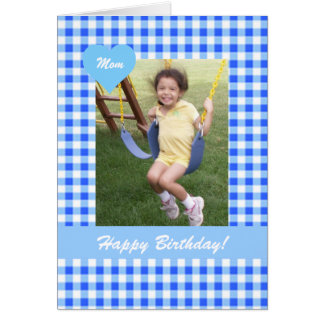 Blue Gingham Mom Birthday Photo Card