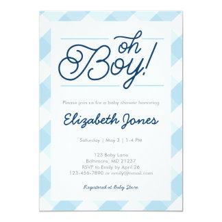 """Blue Gingham """"Oh Boy"""" Baby Shower Invitations"""