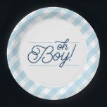 """Blue Gingham &quot;Oh Boy&quot; Baby Shower Paper Plates<br><div class=""""desc"""">These cute baby blue gingham paper plates feature the words &quot;Oh Boy!&quot; set in a navy script with light blue accents. Part of our gingham &quot;Oh Boy!&quot; theme, these plates match the invitations and party supplies perfectly. The template makes it super easy to customize with a name and date. It...</div>"""