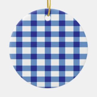 Blue Gingham Christmas Ornaments