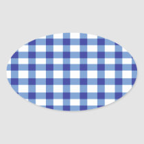 Blue Gingham Oval Sticker