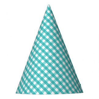 Blue Gingham Party Hat
