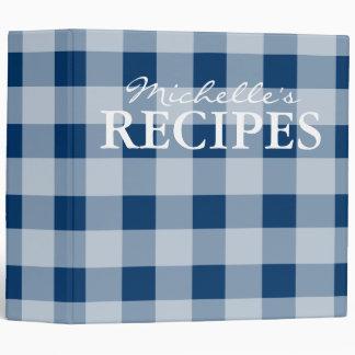 Blue gingham pattern kitchen recipe binder book