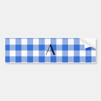 Blue gingham pattern monogram bumper sticker