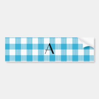 Blue gingham pattern monogram bumper stickers