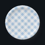 """Blue Gingham Pattern, Picnic, BBQ Paper Plate<br><div class=""""desc"""">Classic gingham pattern paper plate. Great for rustic,  barn,  casual,  outdoor,  birthday,  picnic,  western or any party.</div>"""