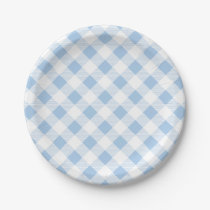 Blue Gingham Pattern, Picnic, BBQ Paper Plate