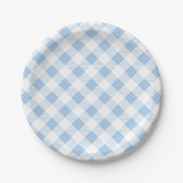 Blue Gingham Pattern Picnic BBQ Paper Plate  sc 1 st  Zazzle & Blue Gingham Plates | Zazzle
