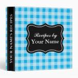 Blue Gingham pattern recipe binder cooking book