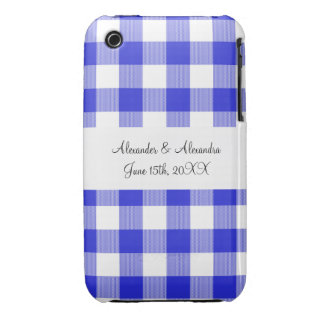 Blue gingham pattern wedding favors iPhone 3 Case-Mate case