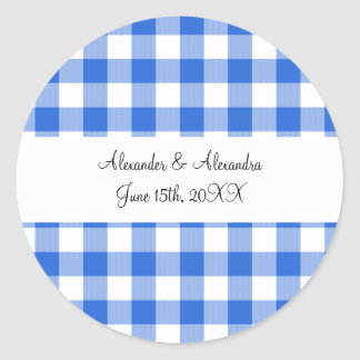 Blue gingham pattern wedding favors classic round sticker