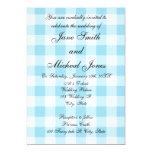 "Blue gingham pattern wedding invitations 5"" x 7"" invitation card"