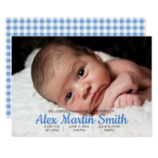 blue gingham piggy baby birth announcement photo