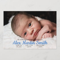 Blue Gingham Piggy Baby Birth Announcement Photo