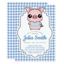 Blue Gingham Piggy Baby Shower Invitation