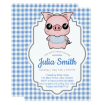Blue Gingham Piggy Baby Shower Invitation