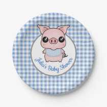 Blue Gingham Piggy Baby Shower Paper Plate